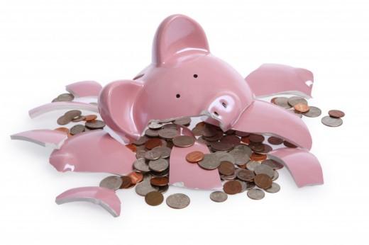 Shattered piggy bank
