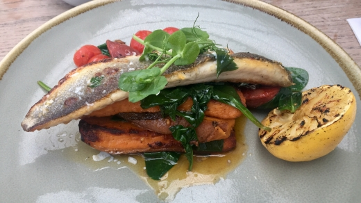 Image of a grey plate with sea bass on a bed of sweet potatoes, spinach and tomatoes garnished with water cress and half a charred lemon.